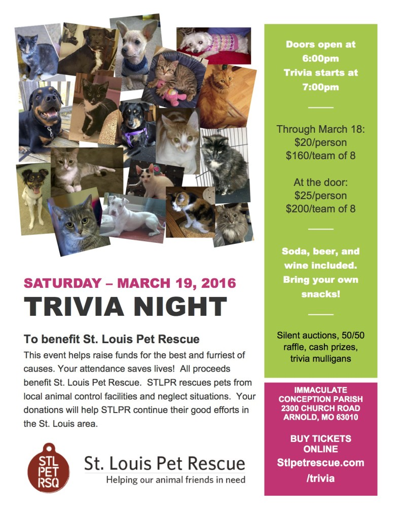 Stlpetrescue 2016 Trivia Flyer